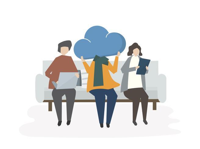 Illustration de personnes partageant sur le nuage