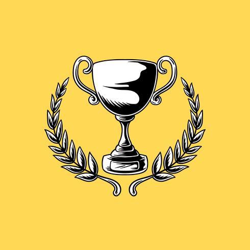 Trofé eller kopp med löv illustration