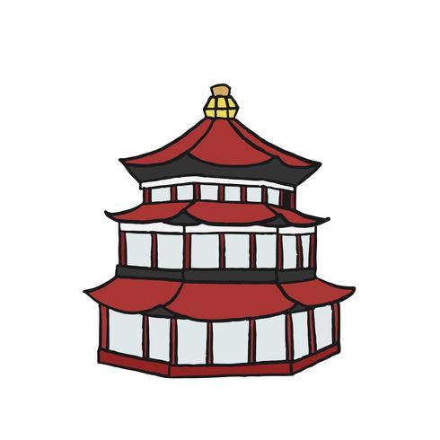 Ilustration de pagode chinoise dessinée à la main