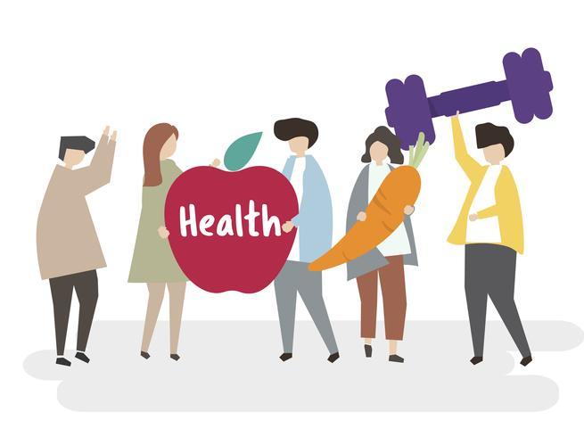 Ilustración de personas con estilo de vida saludable.