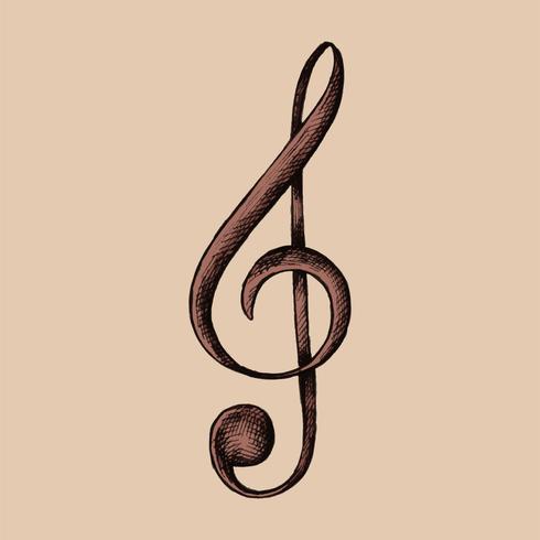 Illustration de note de musique G-clef dessinée à la main