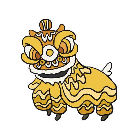 Illustrazione del costume di danza del leone cinese
