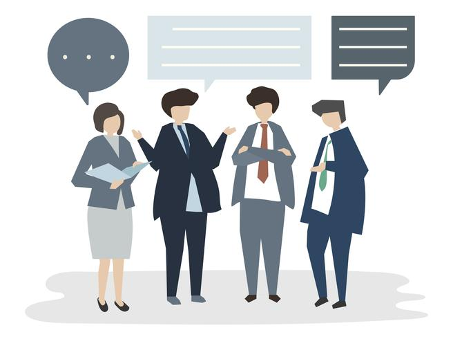 Illustration av människor avatar affärsmöte conceptbrain