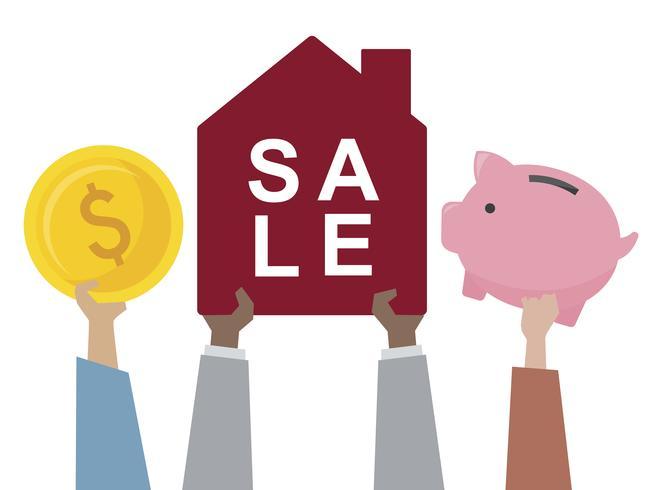 Illustratie van een huis te koop