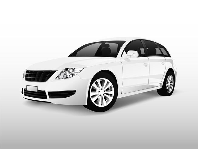 Carro branco hatchback isolado no branco vector
