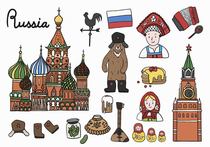 Conjunto de ícones russos e pontos de referência