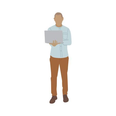 Illustré homme mûr utilisant un ordinateur portable