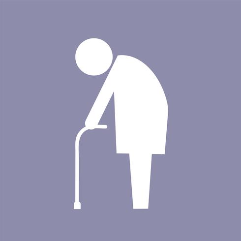 Ancianos con ilustración de pictograma de icono de caña