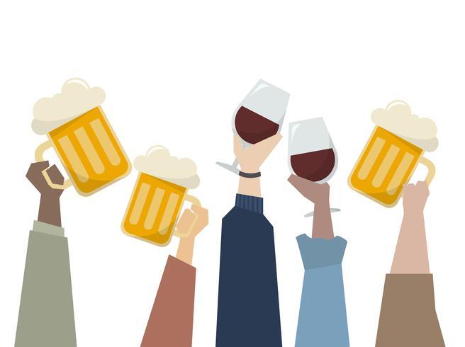 Illustratie van mensen met een feestje