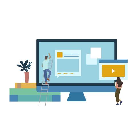 Illustrated people with website development