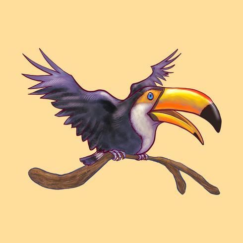 Ilustración de un pájaro colorido hornbill