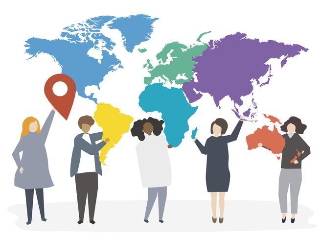 Illustratie van internationale diverse mensen