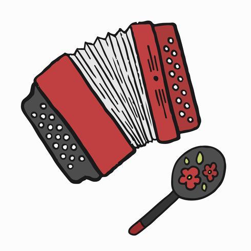Ilustração de acordeão e maraca russa