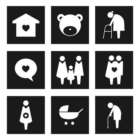 Inzameling van het pictogramillustratie van familiepictogrammen