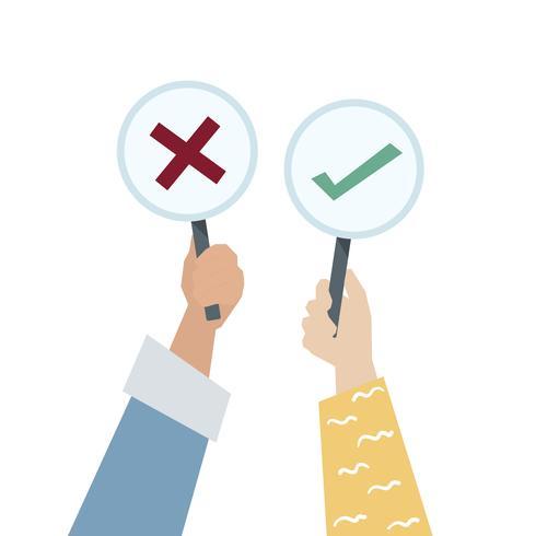 Mãos, mostrando, voto, ícone, tábua, ilustração
