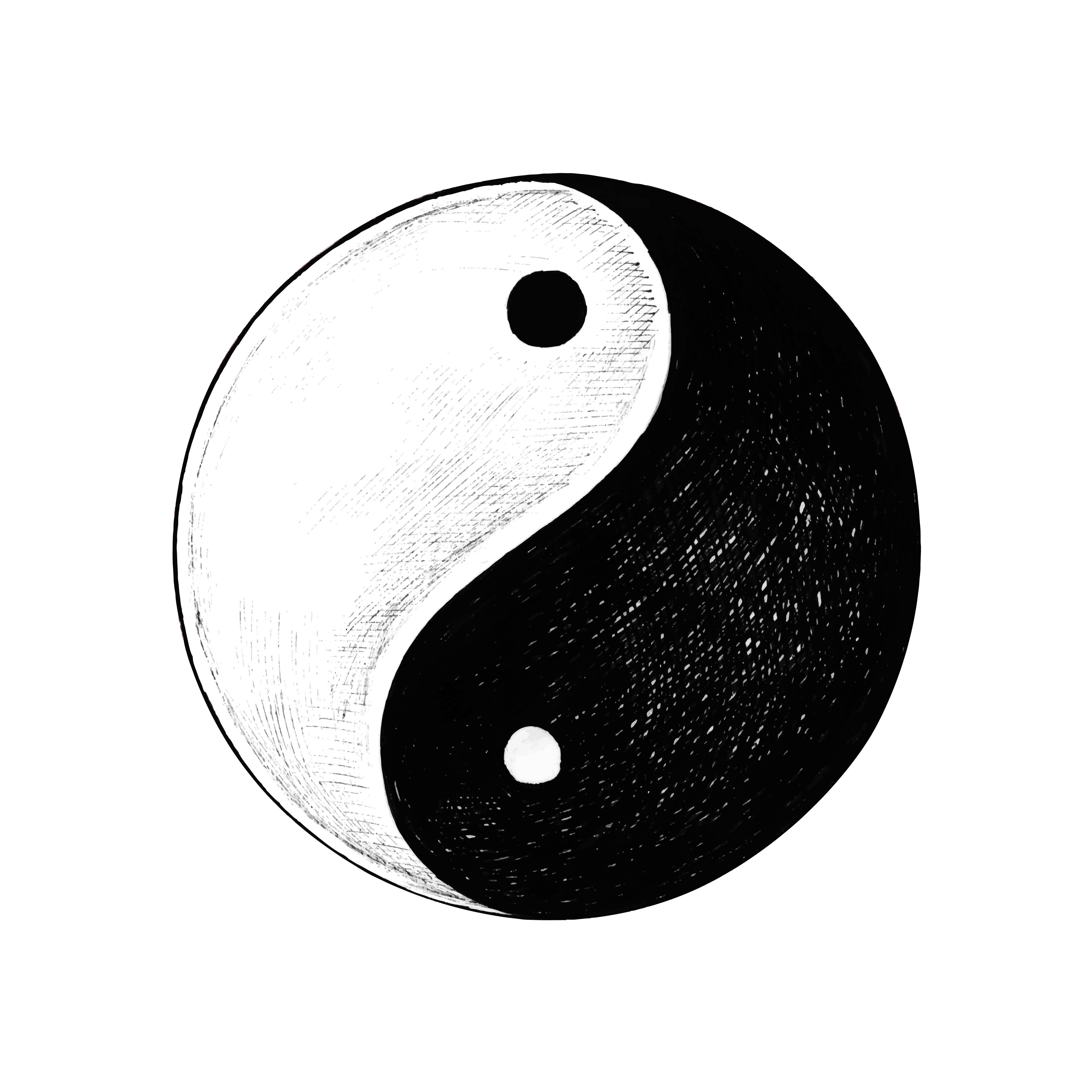 hand drawn yin and yang  download free vectors clipart