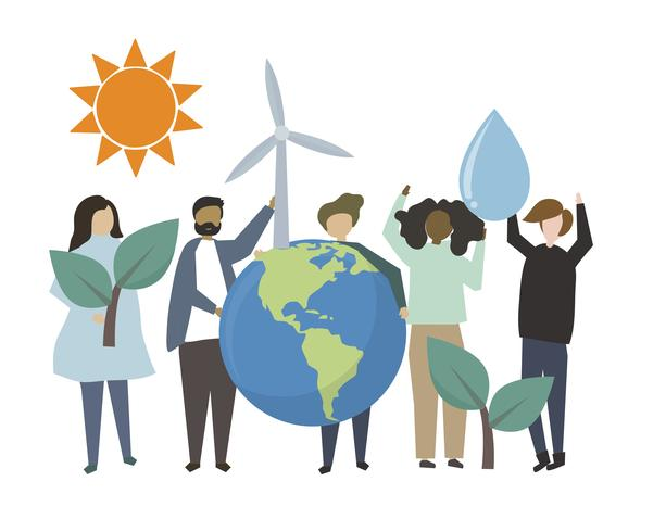 People holding environemental friendly concept illustration