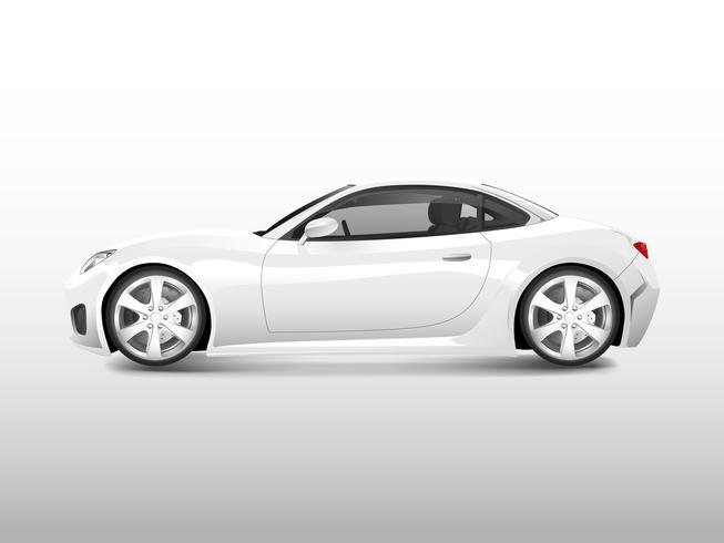 Vit sportbil isolerad på vit vektor