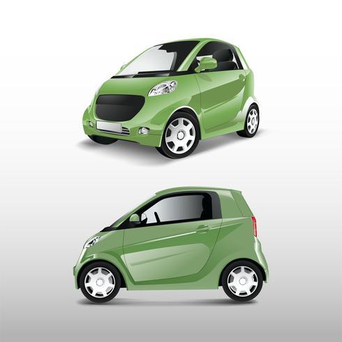 Grön kompakt hybridbil vektor