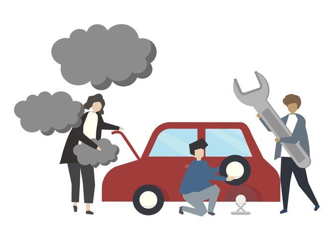 Illustrazione di concetto di servizio riparazione auto