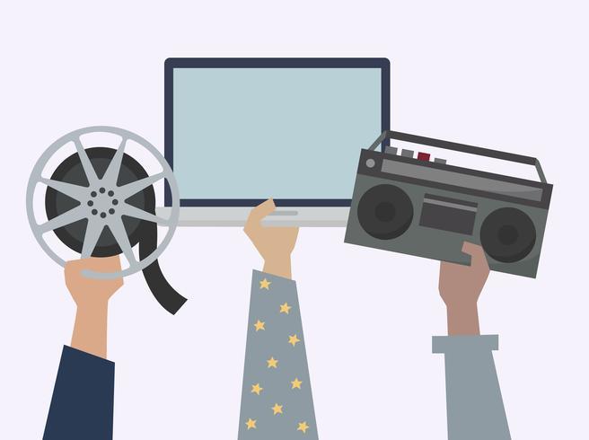 Mani che mostrano l'illustrazione online degli oggetti di media di spettacolo