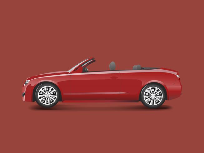 Red convertible in a red background vector