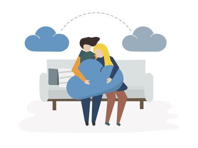 Ilustração de rede em nuvem e compartilhamento