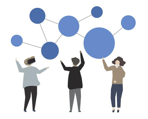 Illustration de concept de réseautage en ligne de médias sociaux
