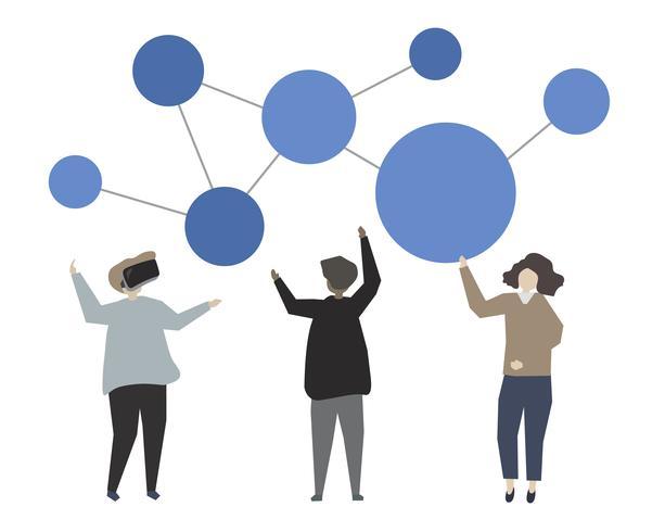 Social media online networking concept illustration