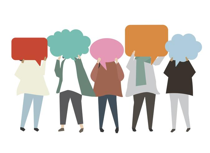 People carrying speech bubble illustration