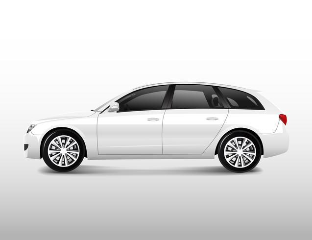 Vista lateral de un vector de coche MPV compacto blanco