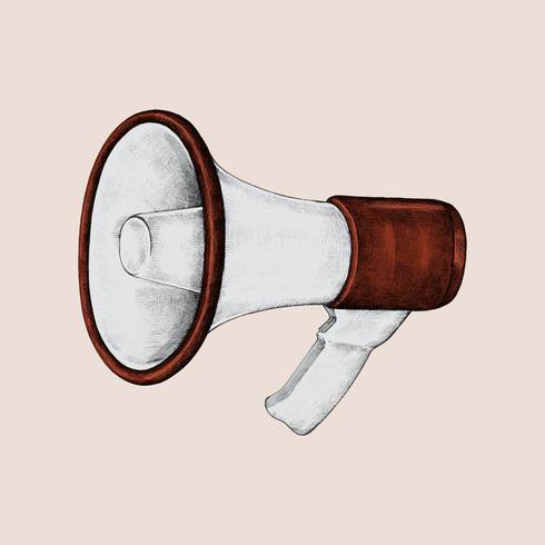 Illustrazione del megafono rosso disegnato a mano