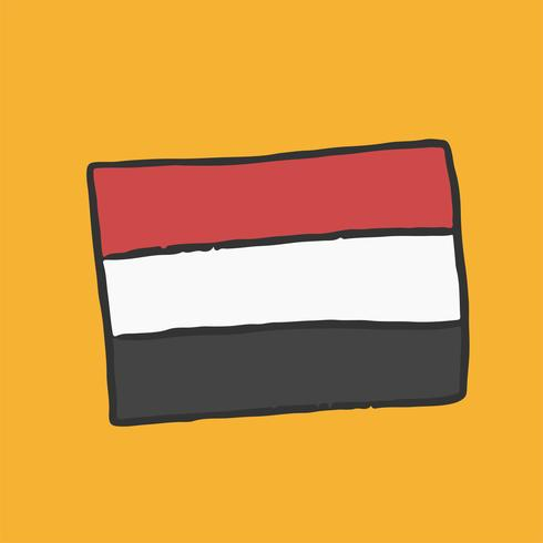 Bandera dibujada a mano de Egipto