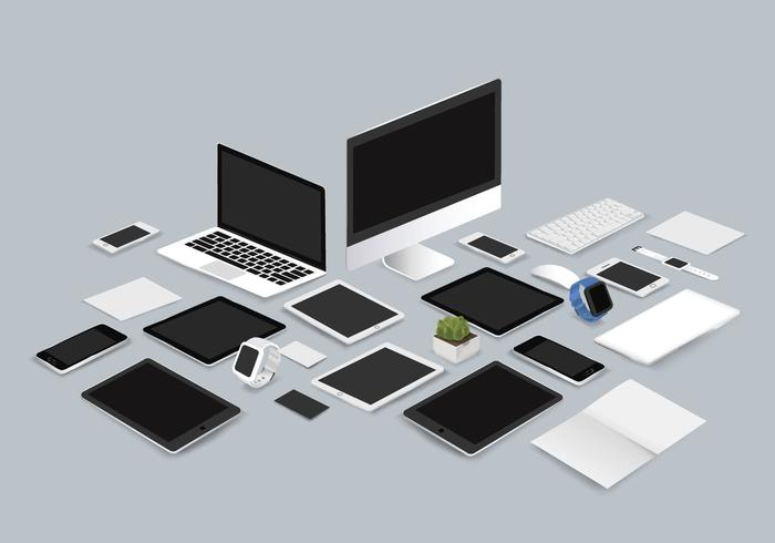 Office mockup set collection vector illustration on gray background