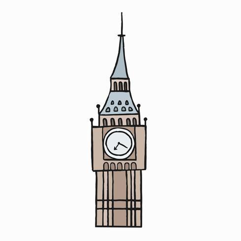 Big Ben, den stora klockan på klockan illustrationen