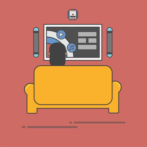 Illustration of a woman watching tv on the couch