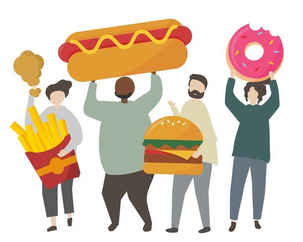 Gente, tenencia, comida chatarra, ilustración