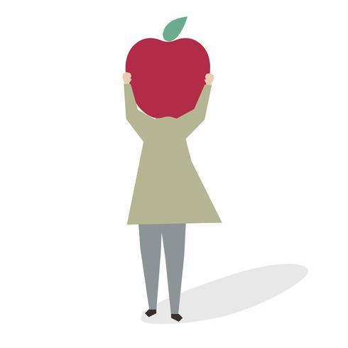 Ilustração de uma mulher com uma grande maçã vermelha