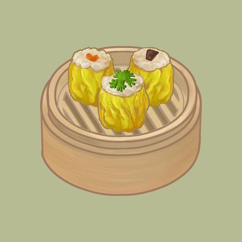 Gnocchi cinesi in un'illustrazione di bambù del vapore