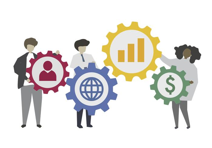 Pessoas negócio, e, social, rede, conceito, ilustração