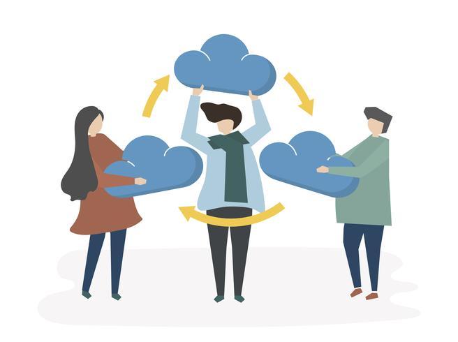 Illustration av moln nätverk delning koncept