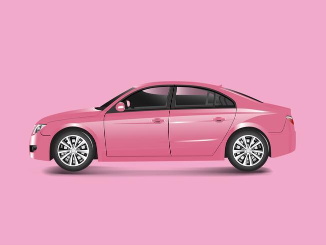 Carro sedan rosa em um vetor de fundo rosa
