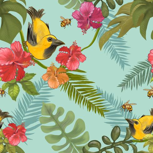 Tropical plants and colorful birds and bees