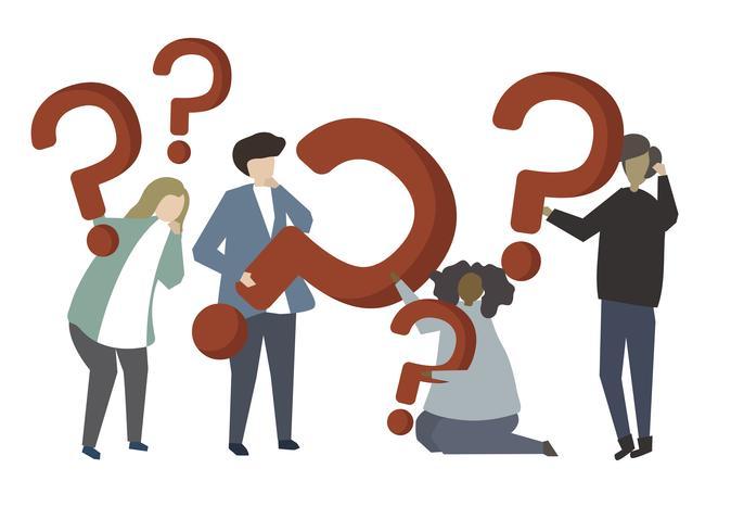 Pessoas segurando a ilustração de ícones de ponto de interrogação