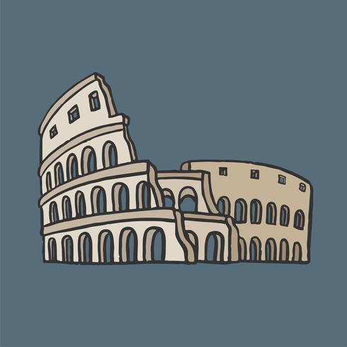 Antiga, romana, colosseum, gráfico, ilustração