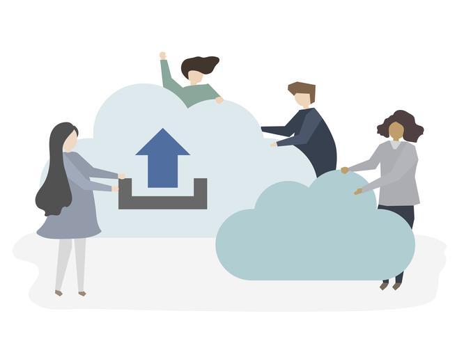 Illustration av människor med moln