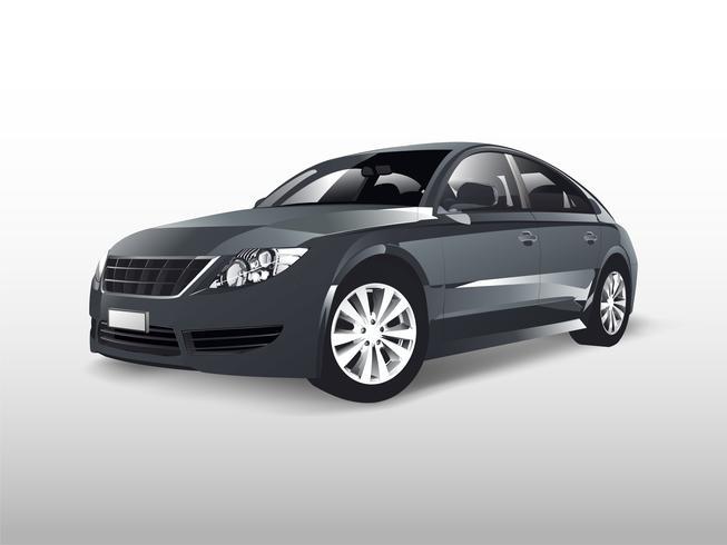 Gray sedan car isolated on white vector