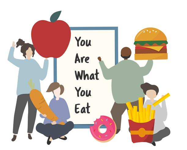 Personas con ilustración de alimentos saludables y no saludables.