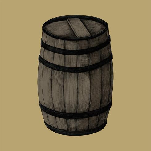 Illustration of a wooden barrel