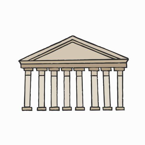 Illustrazione grafica del pantheon romano antico